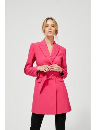 Moodo ružový dámsky kabát s opaskom