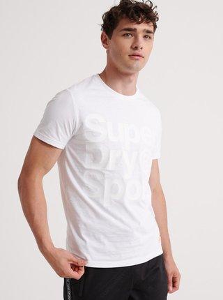 Biele pánske tričko s potlačou Superdry