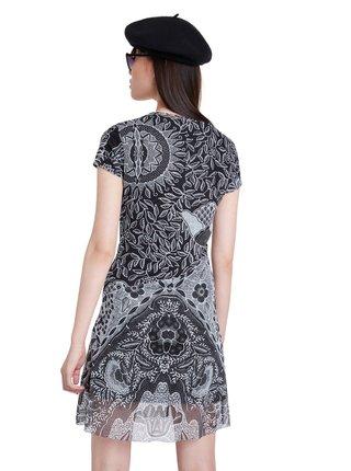 Desigual čierne vzorované šaty Vest Paris