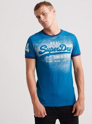 Modré pánske tričko s potlačou Superdry