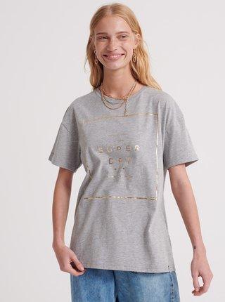 Šedé dámske tričko s potlačou Superdry
