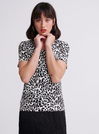 Černo-bílé dámské vzorované tričko Superdry