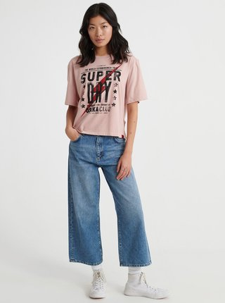 Svetloružové dámske tričko s potlačou Superdry
