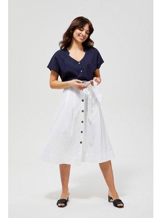 Moodo bílá midi sukně s vázankou