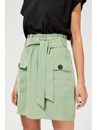 Moodo khaki sukňa s vreckami a viazaním
