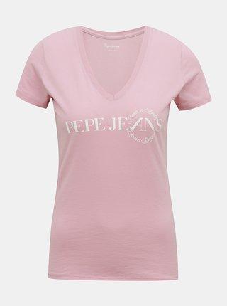 Růžové dámské tričko Pepe Jeans