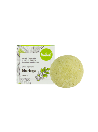 Přírodní tuhý šampón s kondicionérem proti lupům Moringa XL 50 g Kvitok