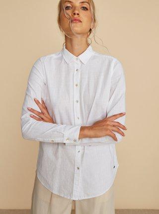 Bílá dámská regular fit košile s příměsí lnu ZOOT Baseline Justina