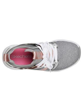 Skechers sivo-strieborné dievčenské tenisky Shine Status