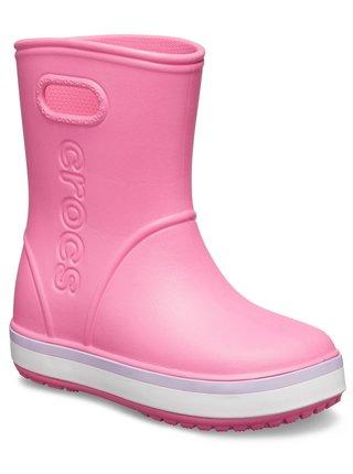 Crocs růžové dívčí holínky Crocband Rain Boot Pink Lemonade/Lavender