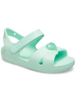 Crocs mentolové dívčí sandály Classic Cross Strap Sandal