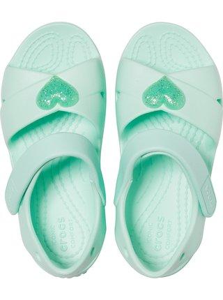 Crocs mentolové dievčenské sandále Classic Cross Strap Sandal
