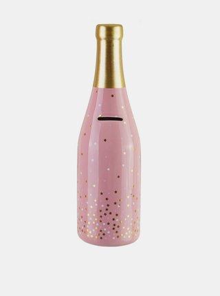 Růžová pokladnička ve tvaru prosecca Sass & Belle