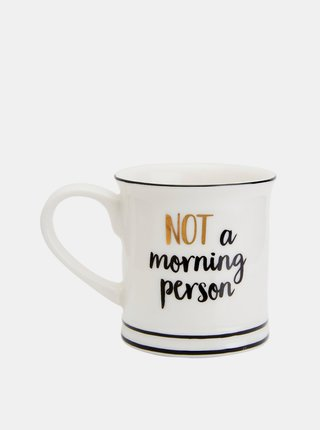 Biely hrnček s nápisom Sass & Belle Not a morning person