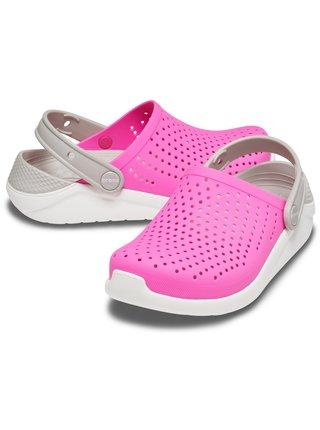 Crocs ružové dievčenské topánky LiteRide Clog Electric Pink/White