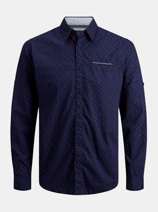Tmavomodrá vzorovaná košeľa Jack & Jones Matthew