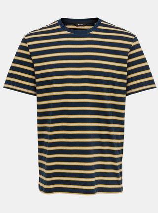 Tmavomodré pruhované tričko ONLY & SONS Mel