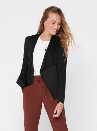 Čierna bunda v semišovej úprave ONLY Fleur