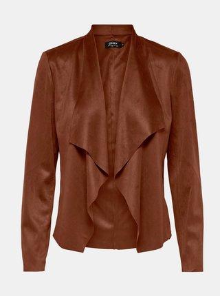Hnedá bunda v semišovej úprave ONLY Fleur