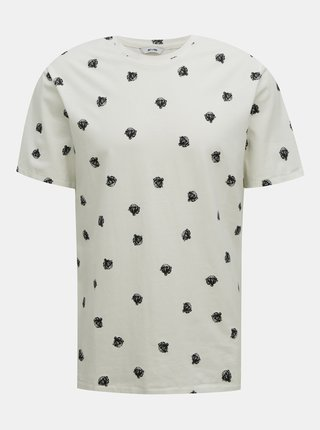 Biele vzorované tričko ONLY & SONS Matter