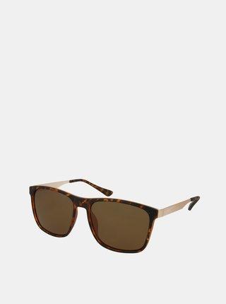 Hnědé vzorované sluneční brýle Crullé