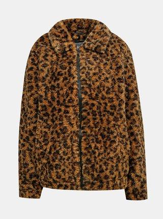 Hnědá bunda s leopardím vzorem a umělým kožíškem Noisy May Gabi