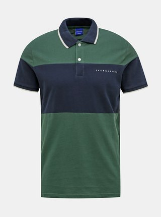 Modro-zelené polo tričko Jack & Jones Pro