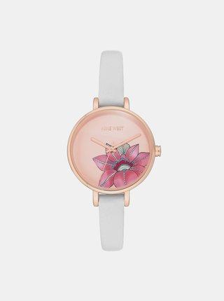 Dámske hodinky s bielym koženým remienkom Nine West