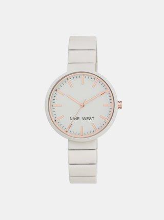 Dámské hodinky s bílým nerezovým páskem Nine West