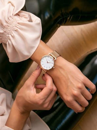 Dámské hodinky s nerezovým páskem v růžovozlaté barvě Annie Rosewood