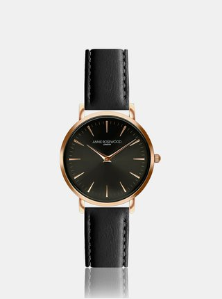 Dámske hodinky s čiernym koženým remienkom Annie Rosewood