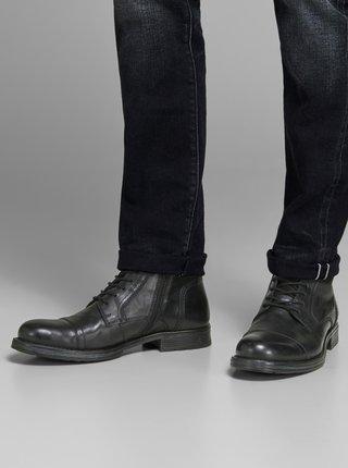 Černé pánské kožené kotníkové boty Jack & Jones Russel