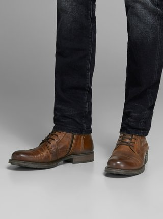 Hnědé pánské kožené kotníkové boty Jack & Jones Russel