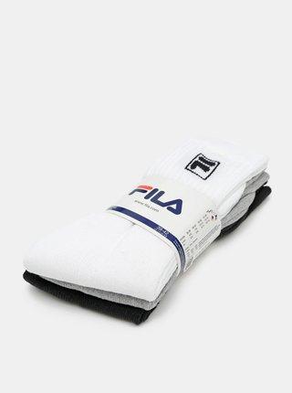 Sada tří párů ponožek v bílé, černé a šedé barvě FILA