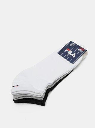 Sada troch párov ponožiek v bielej, čiernej a šedej farbe FILA