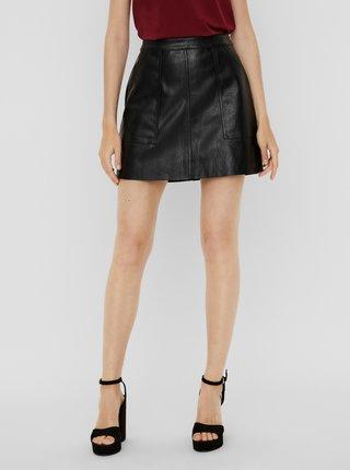 Černá koženková mini sukně VERO MODA Sylvia