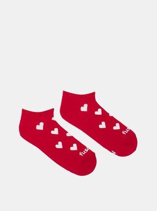 Červené vzorované kotníkové ponožky Fusakle Láska