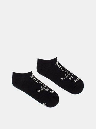 Čierne vzorované členkové ponožky Fusakle Čauky Mňauky