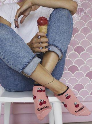Ružové vzorované členkové ponožky Fusakle Čerešňa
