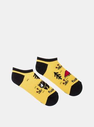 Žlté vzorované členkové ponožky Fusakle Kemping