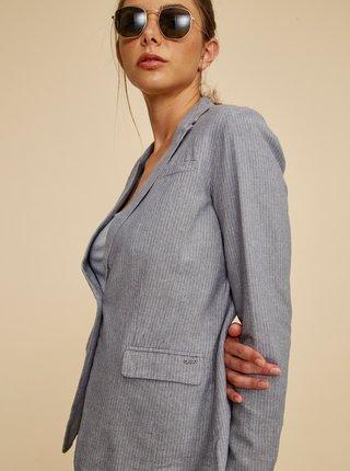 Šedé dámské pruhované sako s příměsí lnu ZOOT Dorothy