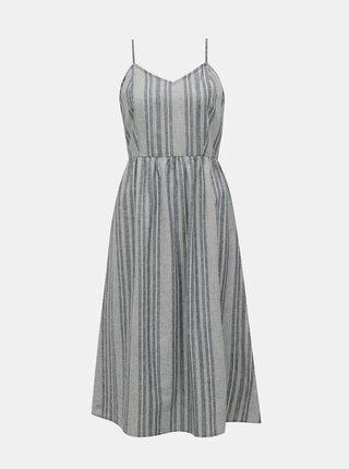 Modré pruhované šaty s příměsí lnu ONLY Vivian