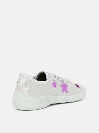 Biele dievčenské trblietavé tenisky 3F