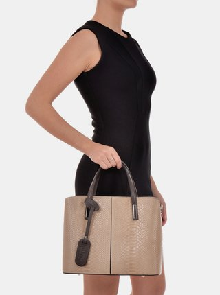 Béžová kožená kabelka s hadím vzorem Roberta M
