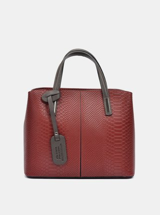 Vínová kožená kabelka s hadím vzorem Roberta M