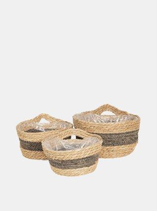 Sada troch béžových slamených košov Clayre & Eef