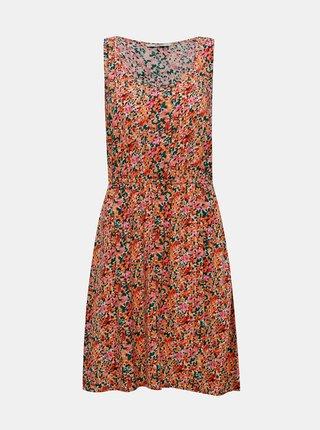 Růžovo-oranžové květované šaty ONLY Sara