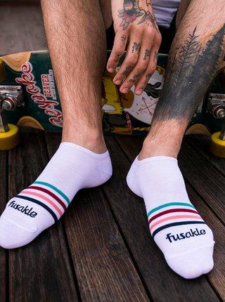 Biele pruhované členkové ponožky Fusakle