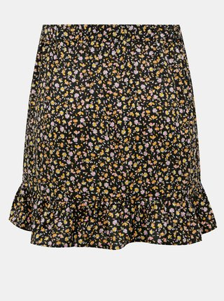 Černá květovaná sukně s volánem TALLY WEiJL