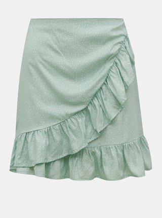Svetlozelená vzorovaná sukňa s volánom TALLY WEiJL